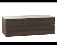 58361 - Memoria Lavabo dolabı, seramik lavabolu, soldan armatür delikli, 120 cm, Metalik Gri