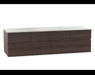 58363 - Memoria Lavabo dolabı, seramik lavabolu, sağdan armatür delikli, 150 cm, Mat Amerikan Ceviz