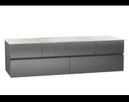 58366 - Memoria Lavabo dolabı, seramik lavabolu, sağdan armatür delikli, 150 cm, Metalik Gri