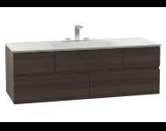 58368 - Memoria Lavabo dolabı, infinit lavabolu, 120 cm, Mat Amerikan Ceviz