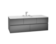58369 - Memoria Washbasin Unit, Including Infinit Washbasin, 120 cm, Metallic Grey