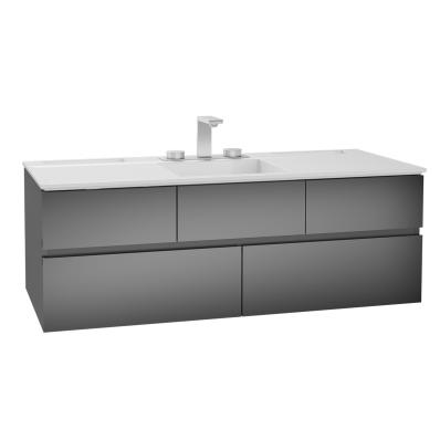 Memoria Lavabo dolabı, infinit lavabolu, 120 cm, Metalik Gri