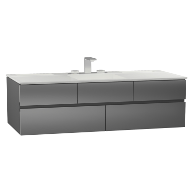 Memoria Lavabo dolabı, infinit lavabolu, 150 cm, Metalik Gri