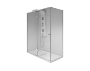 58820122000 - Enjoy 03 Xl Compact Shower Unit 120x80 cm Flat,  L Wall, Black