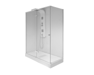 58830222000 - Enjoy 03 Xl Compact Shower Unit 150x80 cm Monobloc,  L Wall, Black