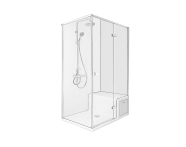 58981111000 - Roomy Shower Unit 120X080 Right U wall, Drawer, with Legs and Panels