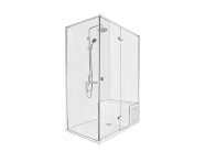 58990111000 - Roomy Shower Unit 150X080 Right, U Wall, Drawer, with Legs and Panels