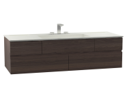 58991 - Memoria Washbasin Unit, Including Infinit Washbasin, 150 cm, Metallic Mocha