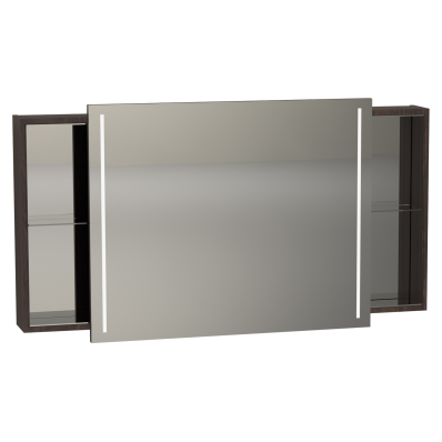 Memoria Illuminated Mirror Cabinet, with Sliding Door, 120 cm, Metallic Mocha