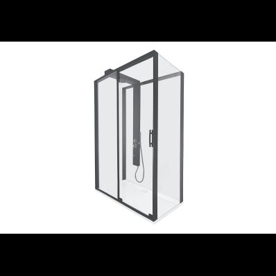 Zest Sürgülü Kompakt Duş Ünitesi 120x90, U Duvar, Sol, Siyah