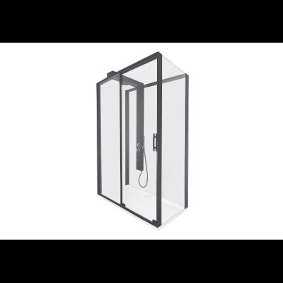 Zest Sürgülü Kompakt Duş Ünitesi 120x90, U Duvar, Sağ, Siyah