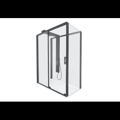 Zest Sürgülü Kompakt Duş Ünitesi 160x90, U Duvar, Sol, Siyah