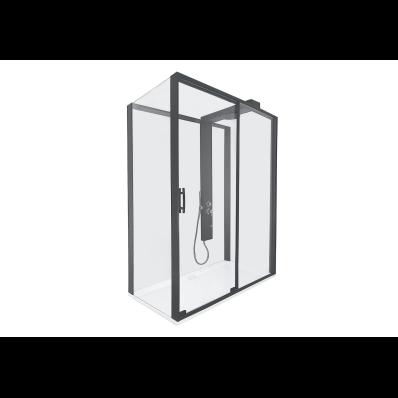 Zest Sürgülü Kompakt Duş Ünitesi 160x90, U Duvar, Sağ, Siyah
