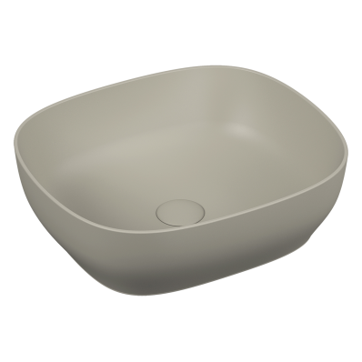 Outline Square Bowl Washbasin, Matte Taupe