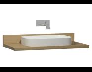 60016 - Memoria Black Tezgah, 100 cm, Hareli Meşe, Parlak Beyaz lavabolu
