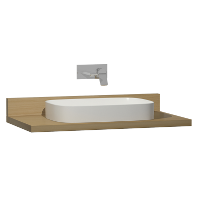 Memoria Black Counter, 100 cm, Patterned Oak, Washbasin White High Gloss