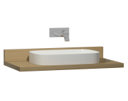 60017 - Memoria Black&White Tezgah, 100 cm, Mat Beyaz yuvarlak lavabolu, Hareli Meşe