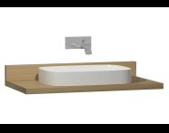 60019 - Memoria Black&White Tezgah, 100 cm, Mat Bej yuvarlak lavabolu, Hareli Meşe
