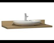 60020 - Memoria Black&White Tezgah, 120 cm, Beyaz oval lavabolu, Hareli Meşe