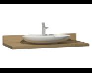 60022 - Memoria Black&White Tezgah, 120 cm, Mat Bej oval lavabolu, Hareli Meşe