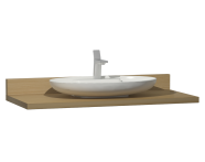 60023 - Memoria Black&White Tezgah, 120 cm, Mat Siyah oval lavabolu, Hareli Meşe