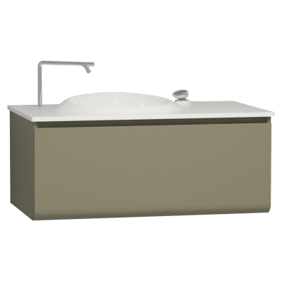 Istanbul Washbasin Unit, Including Infinit Washbasin, 100 cm, Olive Green