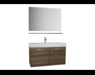60155 - Optima Demonte Set, kapaklı, 100 cm, (lavabo dolabı, ayna, raf), Açık ceviz