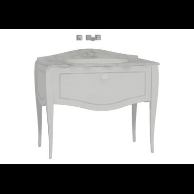 Elegance Lavabo Dolabı, tezgahaltı lavabolu, mermersiz 100 cm, Mat Beyaz, beyaz seramik kulplu
