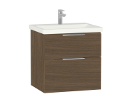 60310 - Ecora Washbasin Unit, 2 Drawer, Including Basin, 60 cm, Oak