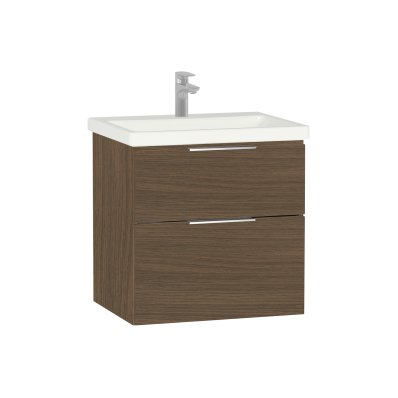 Ecora Washbasin Unit, 2 Drawer, Including Basin, 60 cm, Oak