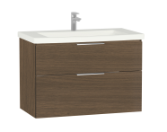 60311 - Ecora Washbasin Unit, 2 Drawer, Including Basin, 90 cm, Oak