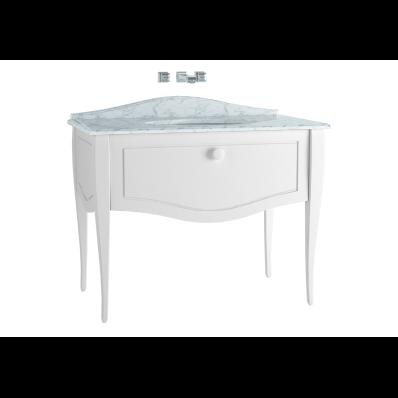 Elegance Lavabo Dolabı, 100 cm, Tezgahaltı Lavabolu, Armatür Deliksiz Mermerli, Beyaz Seramik Kulplu, Mat Beyaz