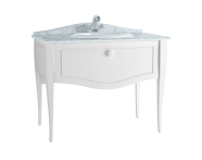 60767 - Elegance Washbasin Unit, 100 cm, with countertop washbasin, with marble with 1 faucet hole, white handle, Matte White