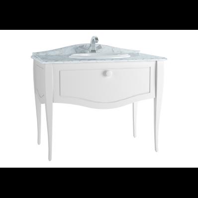 Elegance Lavabo Dolabı, tezgahüstü lavabolu, tek armatür delikli mermerli, 100 cm, Mat Beyaz, beyaz seramik kulplu