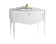 60771 - Elegance Washbasin Unit, 100 cm, with countertop washbasin, with marble with 3 faucet holes, white handle, Matte White