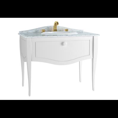 Elegance Lavabo Dolabı, tezgahüstü lavabolu, 3 armatür delikli mermerli, 100 cm, Mat Beyaz, beyaz seramik kulplu