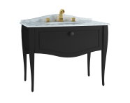 60774 - Elegance Washbasin Unit, 100 cm, with undercounter washbasin, with marble with 3 faucet holes, black handle, Matte Black