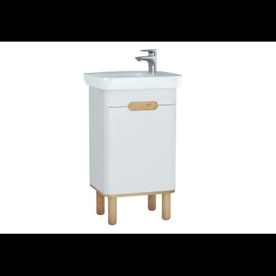 Sento lavabo dolabı, kapaklı, ayaklı, 50 cm, mat beyaz, sağ