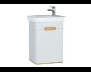 60777 - Sento lavabo dolabı, kapaklı, ayaksız, 50 cm, mat beyaz, sağ