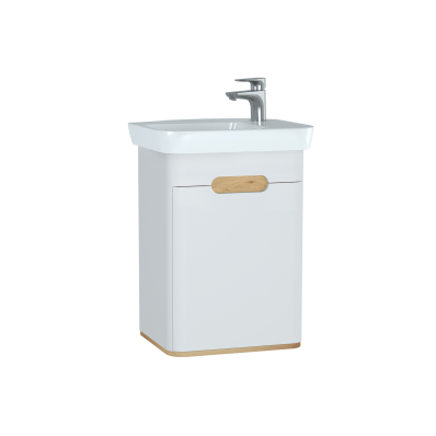 Sento Washbasin Unit, with doors, 50 cm, Matte White, Right