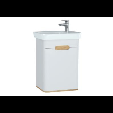 Sento lavabo dolabı, kapaklı, ayaksız, 50 cm, mat beyaz, sağ