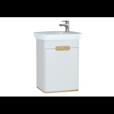 Sento lavabo dolabı, kapaklı, ayaksız, 50 cm, mat beyaz, sol