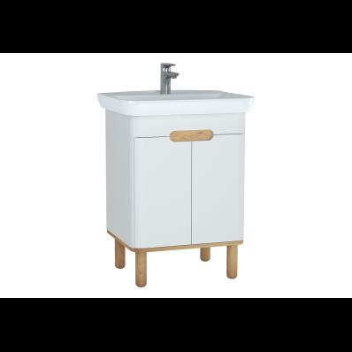 Sento lavabo dolabı, kapaklı, ayaklı, 65 cm, mat beyaz