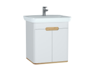 60781 - Sento Washbasin Unit, with doors, 65 cm, Matte White