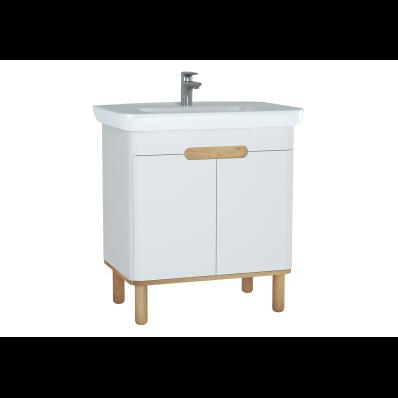 Sento lavabo dolabı, kapaklı, ayaklı, 80 cm, mat beyaz