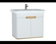 60785 - Sento lavabo dolabı, kapaklı, ayaksız, 80 cm, mat beyaz