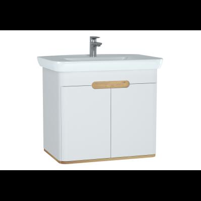 Sento lavabo dolabı, kapaklı, ayaksız, 80 cm, mat beyaz