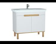 60786 - Sento lavabo dolabı, kapaklı, ayaklı, 100 cm, mat beyaz