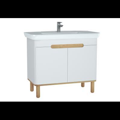 Sento lavabo dolabı, kapaklı, ayaklı, 100 cm, mat beyaz