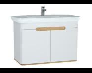 60787 - Sento lavabo dolabı, kapaklı, ayaksız, 100 cm, mat beyaz